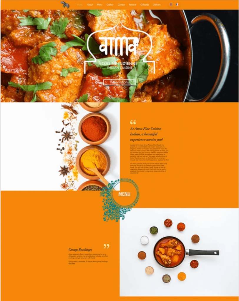 Atma thiết kế web nhà hàng