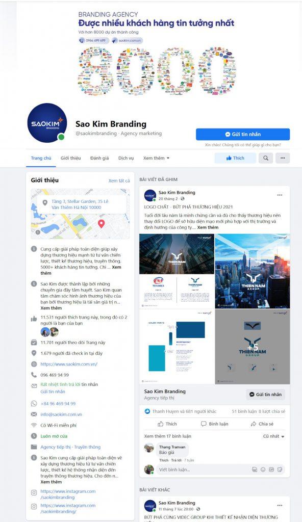 Một Facebook Page đầy đủ thông tin và chất lượng cao