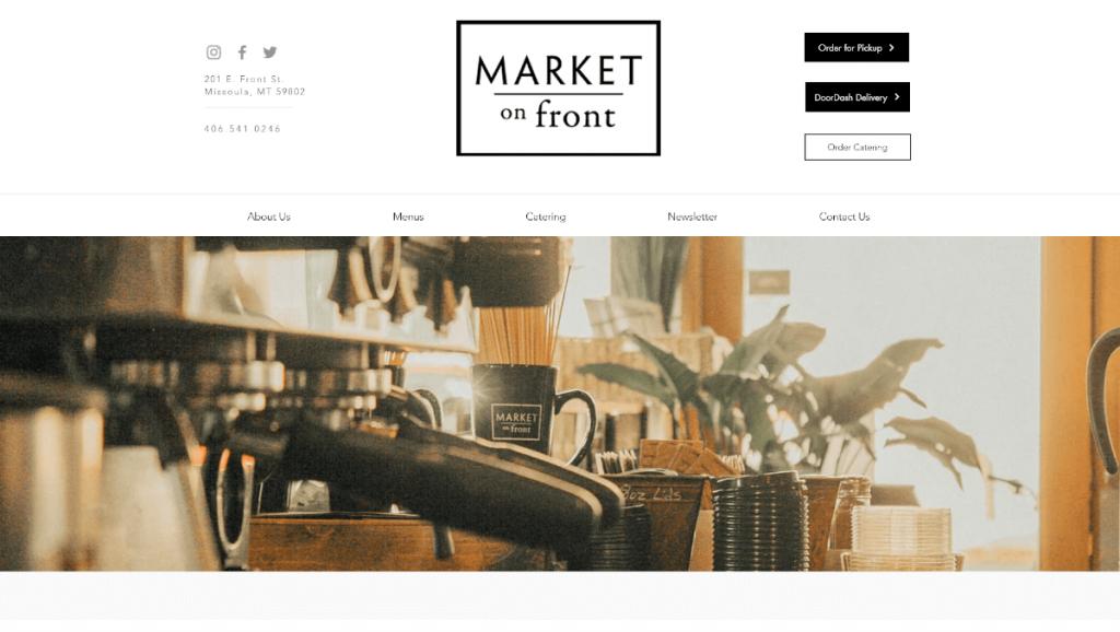 Market on front thiết kế web nhà hàng