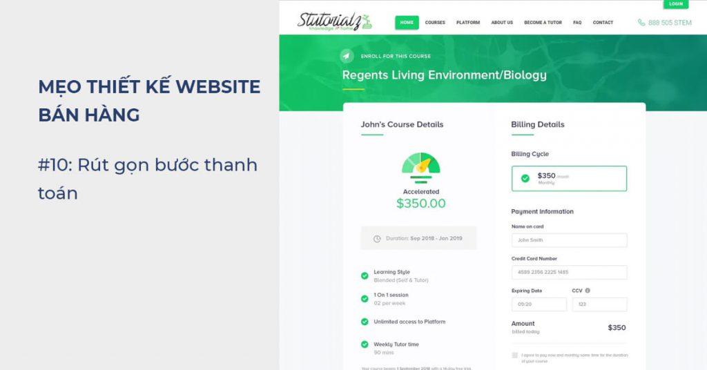 Mẹo thiết kế Website bán hàng: Thiết kế rút gọn bước thanh toán