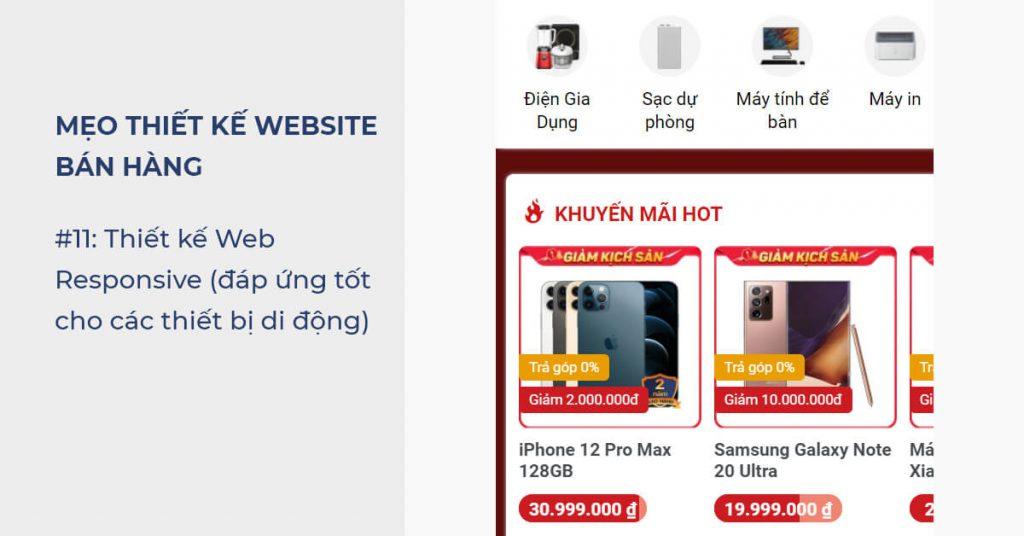 Mẹo thiết kế Website bán hàng: Thiết kế Web Responsive