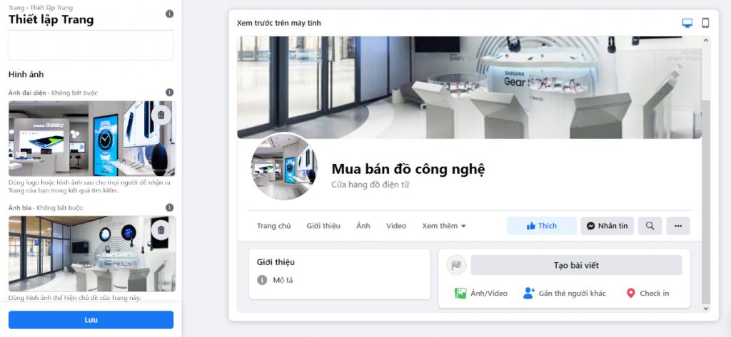 Thiết lập trang Facebook
